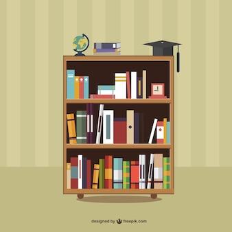 Libros en los estantes