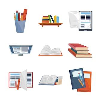 Libros estudio de literatura en línea aprender educación iconos académicos establecer ilustración