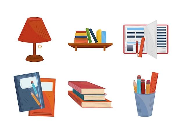 Libros, lápices, lámpara, aprender, educación, académico, iconos, conjunto, ilustración