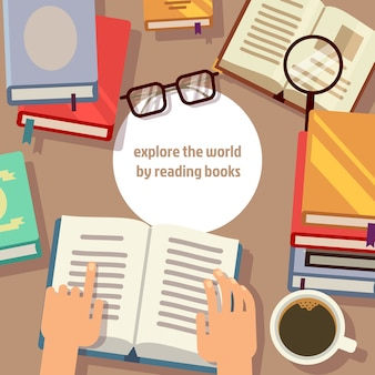 Libros de lectura con gafas y lupa