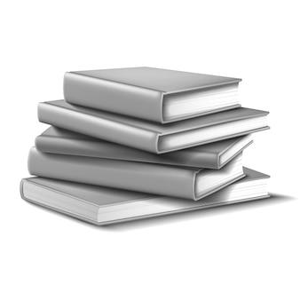 Libros en maqueta gris. sobre fondo blanco