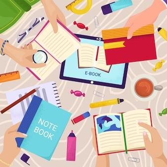 Libros en la mesa, educación escolar en el concepto de escritorio de la biblioteca, ilustración vectorial. estudio de carácter de personas con cuaderno, papel y lápices.