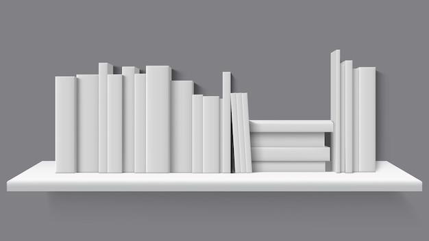Libros realistas en estantería.