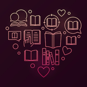 Los libros del vector del corazón colorido de lectura y educación concepto lineal ilustración sobre fondo oscuro