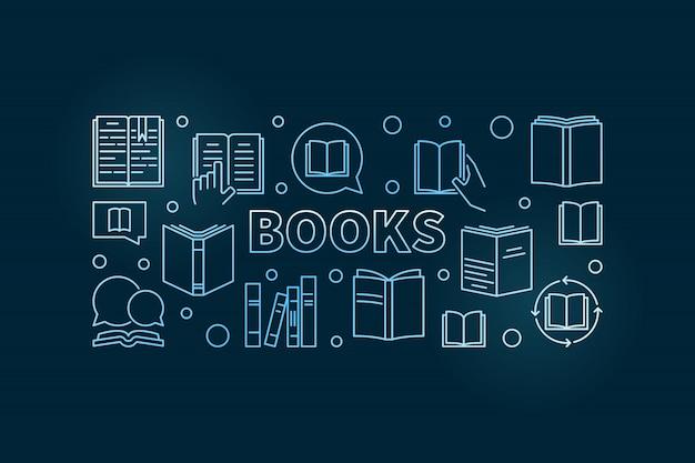 Libros vector ilustración de contorno horizontal azul