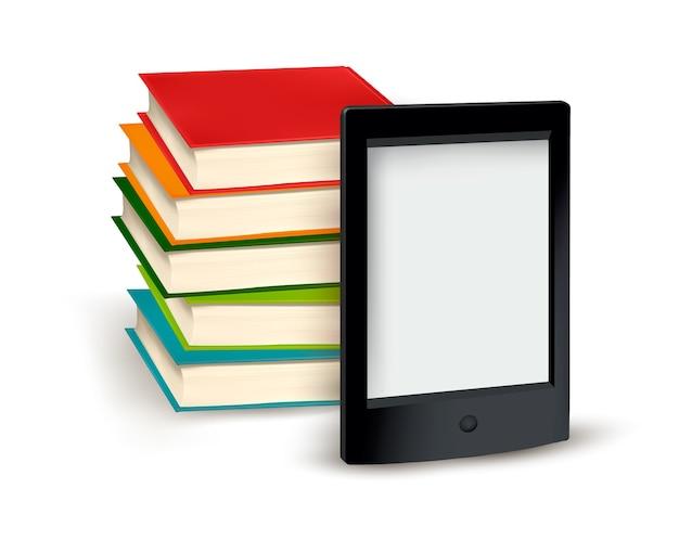 Libros volando en una tableta.