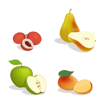 Lichi, pera, manzana y mango