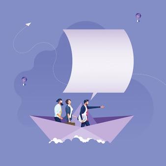 Líder apuntando la mano hacia adelante en barcos de papel-concepto de liderazgo empresarial