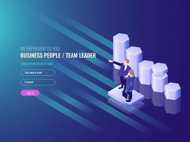 Líder de equipo, equipo de trabajo ir al éxito, dos hombre de negocios, programar hasta