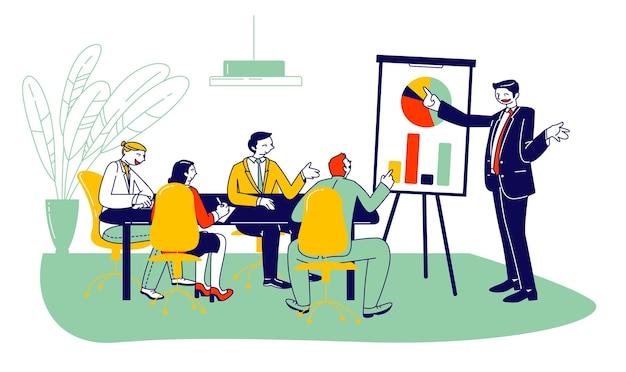 Líder de la empresa, entrenador de negocios, gerente ejecutivo apuntando al gráfico de rotafolios, ilustración plana de dibujos animados