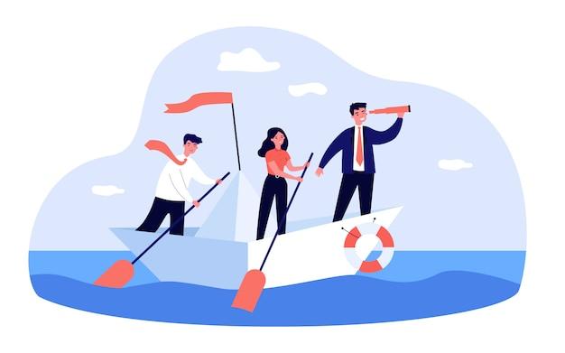 Líder empresarial con catalejo liderando su equipo en el océano