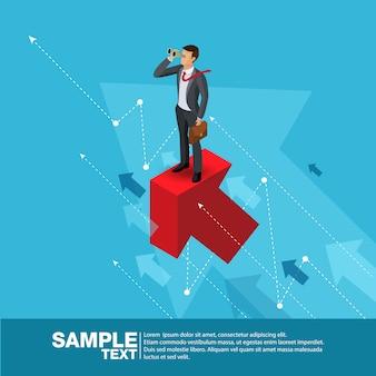 Líder empresarial futuro concept finance manager business man.