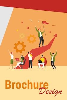 Líder empresarial de pie en la flecha y sosteniendo la bandera ilustración vectorial plana. gente de dibujos animados entrenando y haciendo un plan de negocios. concepto de liderazgo, victoria y desafío