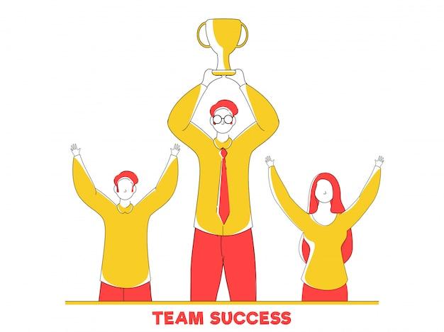 Líder empresarial que sostiene la taza del trofeo con el empleado para team success concept.