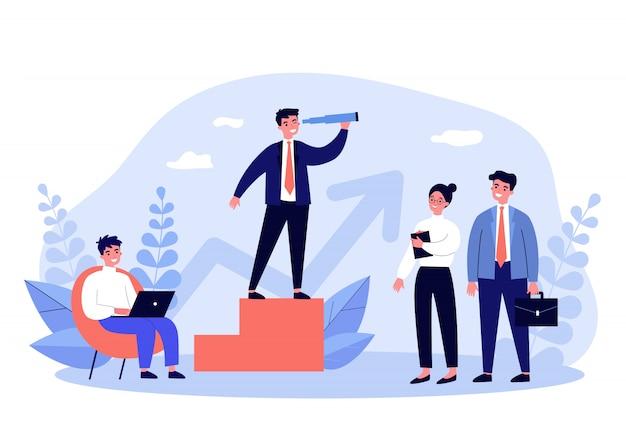 Líder empresarial y su equipo