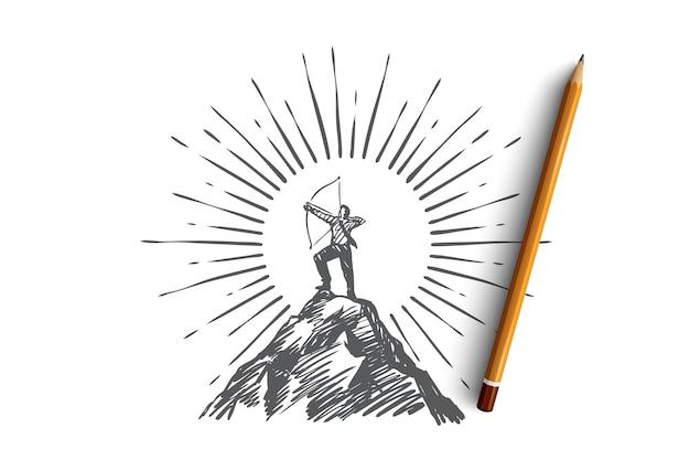 Líder, éxito, estrategia y concepto de carrera. vector aislado dibujado a mano