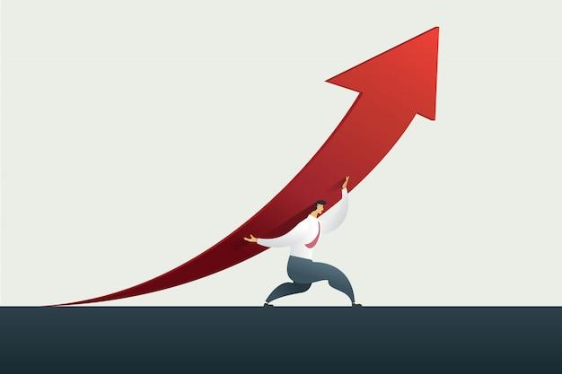 Líder del hombre de negocios que sostiene la flecha encima del camino a la meta u objetivo en el negocio, éxito