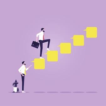 Líder recomienda al empleado al éxito, empresario subiendo escaleras de burbujas de discurso del líder al éxito