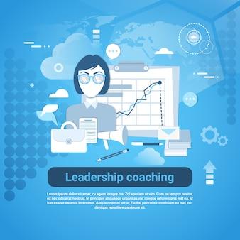 Liderazgo coaching web banner con espacio de copia sobre fondo azul