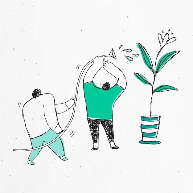 Liderazgo dibujado a mano verde
