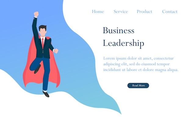 El liderazgo empresarial como un concepto de héroe para el éxito, el logro y el ganador.