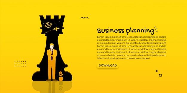 Liderazgo de empresario de pie delante del ajedrez, concepto de planificación empresarial