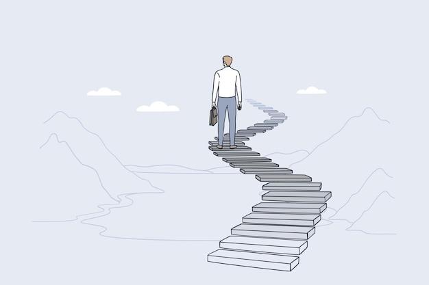 Liderazgo de éxito logrando el concepto de objetivo
