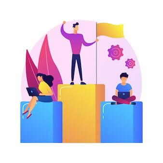 Liderazgo y éxito. mejor trabajador en pedestal. logro, desarrollo, motivación. carácter de empleado en gráfico de barras con bandera.
