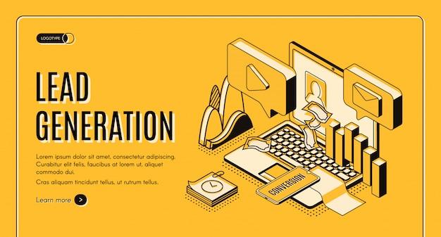 Liderazgo de generación de estrategias de marketing en internet proyección isométrica vector web banner