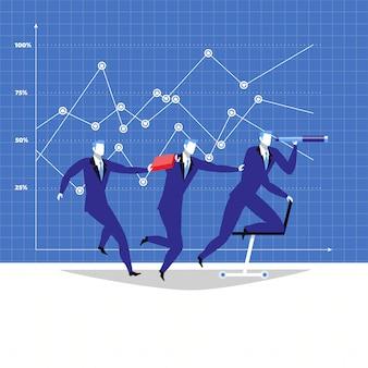 Liderazgo, ilustración de trabajo en equipo en estilo plano