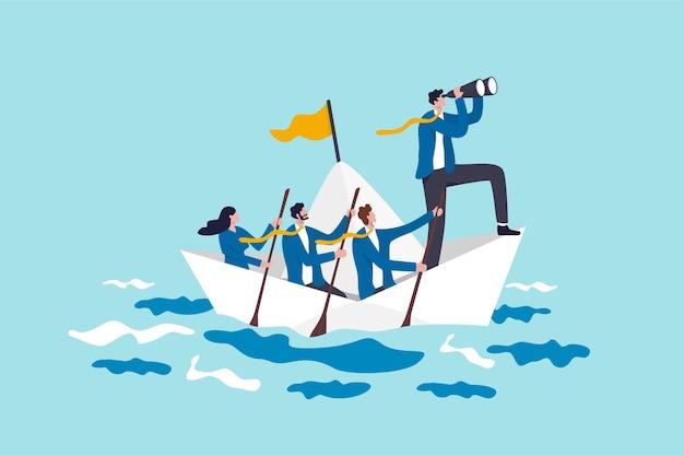 Liderazgo para liderar negocios en crisis, trabajo en equipo o apoyo para lograr el objetivo, la visión o la estrategia de avance para el concepto de éxito, el líder de negocios con binoculares lidera el equipo de negocios navegando en un barco de origami