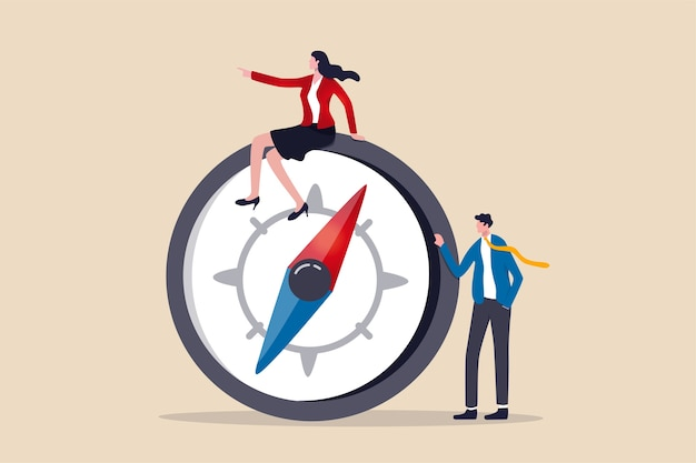 Liderazgo de mujeres, dirección de negocios líder femenina exitosa o visionaria para lograr el concepto de metas, líder de equipo de empresaria inteligente de confianza en ropa formal sentada en la brújula liderando el camino