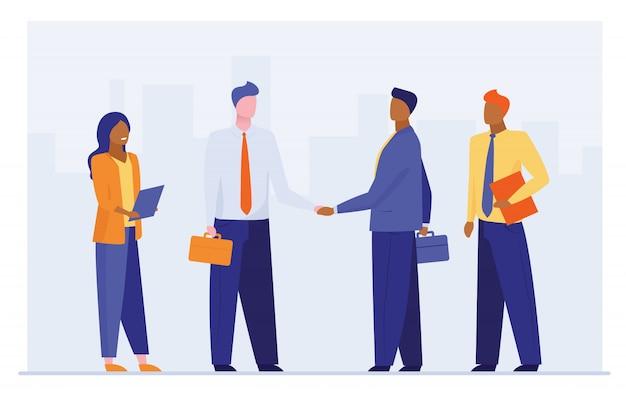 Líderes empresariales dándose la mano