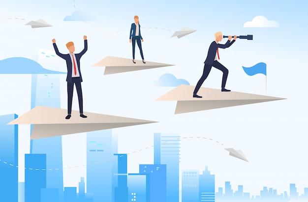 Líderes empresariales parados en aviones de papel