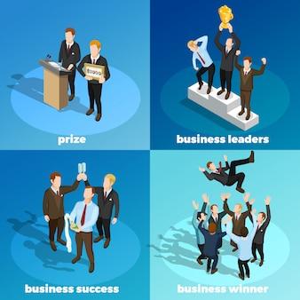 Líderes ganadores de negocios 4 iconos isométricos
