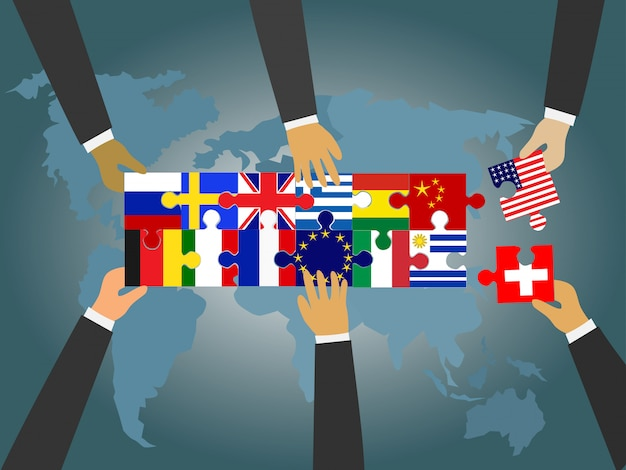 Los líderes de países de todo el mundo están conectando el rompecabezas de la bandera nacional.