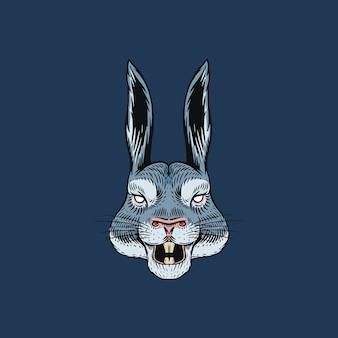 Liebre gritona o conejo loco para tatuaje o etiqueta. animal rugiente.