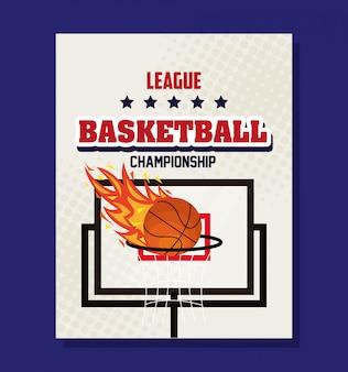 Liga de baloncesto, emblema, diseño con pelota de baloncesto y aro de baloncesto