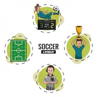 Liga de torneos de fútbol con caricaturas redondas de símbolos
