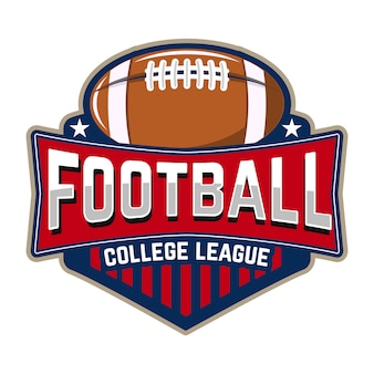 Liga universitaria de fútbol. plantilla de emblema con pelota de futbol. rugby. elemento de diseño para logotipo, etiqueta, diseño.