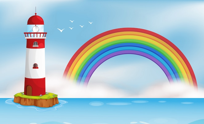 Lighthouse island y rainbow seascape