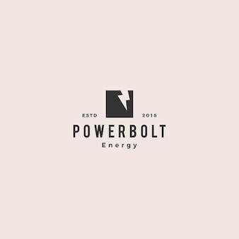 Lightning bolt power logo vintage hipster retro vector icono símbolo