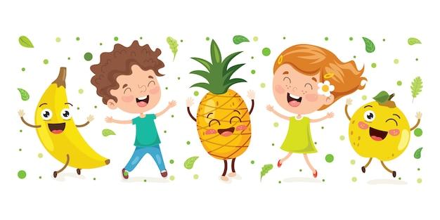 Liitle niño y fruta de dibujos animados