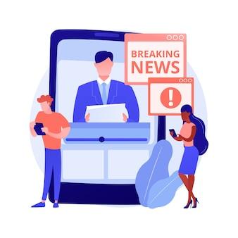 Limite la ilustración de vector de concepto abstracto de ingesta de noticias. últimas noticias del brote de coronavirus, número de muertos, alimentación de las redes sociales, estrés y ansiedad, salud mental durante la metáfora abstracta de cuarentena.