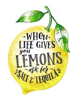 Limón fresco con la mano escribiendo frase. aislante del ejemplo del vector de las frutas en blanco