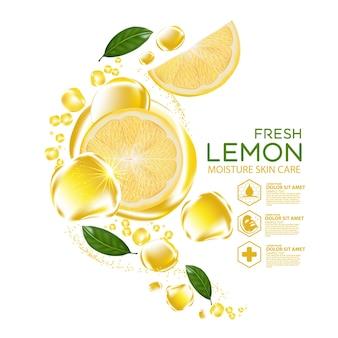 Limón fruta vitamina suero hidratante cuidado de la piel cosmético.