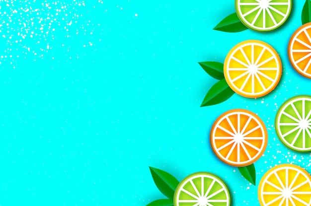 Limón, lima, naranja en estilo de corte de papel. origami jugosas rodajas maduras. hojas. comida sana