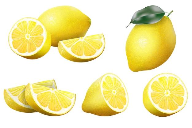 Limón. limón realista con conjunto de hojas verdes enteras y en rodajas, fruta fresca agria, cáscara de color amarillo brillante, conjunto de ilustración de vector de limones aislado sobre fondo blanco