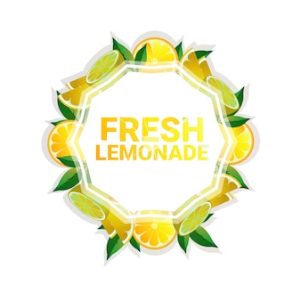 Limonada fruta colorido círculo copia espacio orgánico sobre fondo blanco.