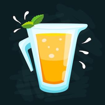 Limonada de limon y lima. ilustración verde limonada